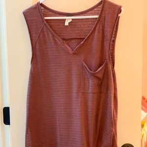 Free People Tank in Maroon with Blue/Gray Stripes
